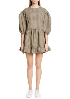 Sandy Liang Flor Gingham Puff Sleeve Minidress