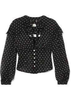 Sandy Liang Keller polka-dot silk-chiffon blouse