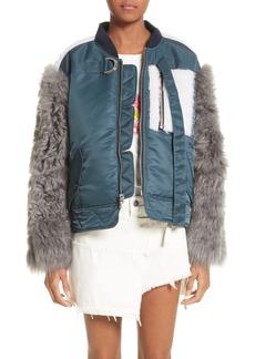 Sandy Liang Peter Genuine Shearling Sleeve Jacket