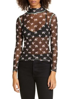 Sandy Liang Promise Floral Print Sheer Turtleneck