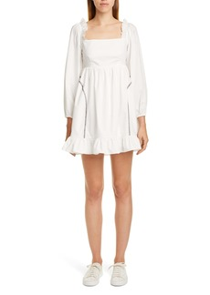 Sandy Liang Push Contrast Stitch Long Sleeve Minidress