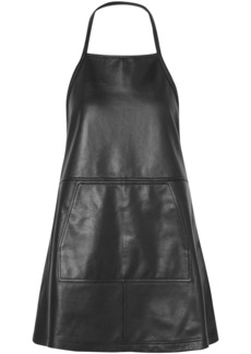 Sandy Liang Woman Apron Backless Leather Mini Dress Black
