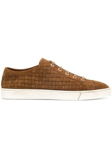 Santoni braided lace-up sneakers