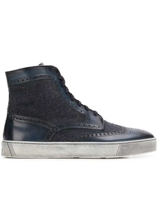 Santoni brogue detail ankle boots