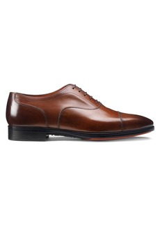 Santoni Cap Toe Leather Oxford Shoes