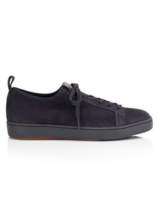 Santoni Clean Iconic Stretch Suede Sneakers