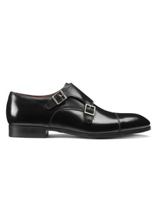 Santoni Double Buckle Leather Dress Shoes