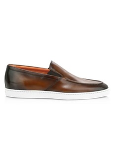 Santoni Farley Slip-On Leather Sneakers