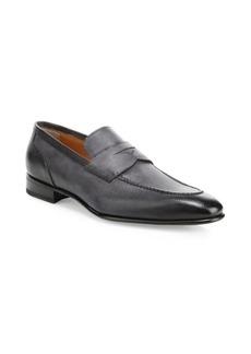 Santoni Felipe Textured Leather Loafers