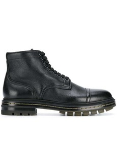 Santoni flat lace-up boots