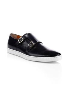 Santoni Freemont Leather Double Monk-Strap Shoes