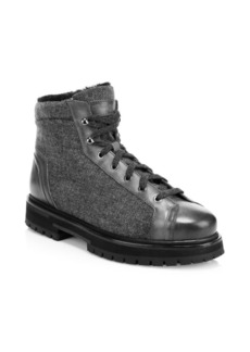Santoni Fur-Lined Lace-Up Ankle Boots