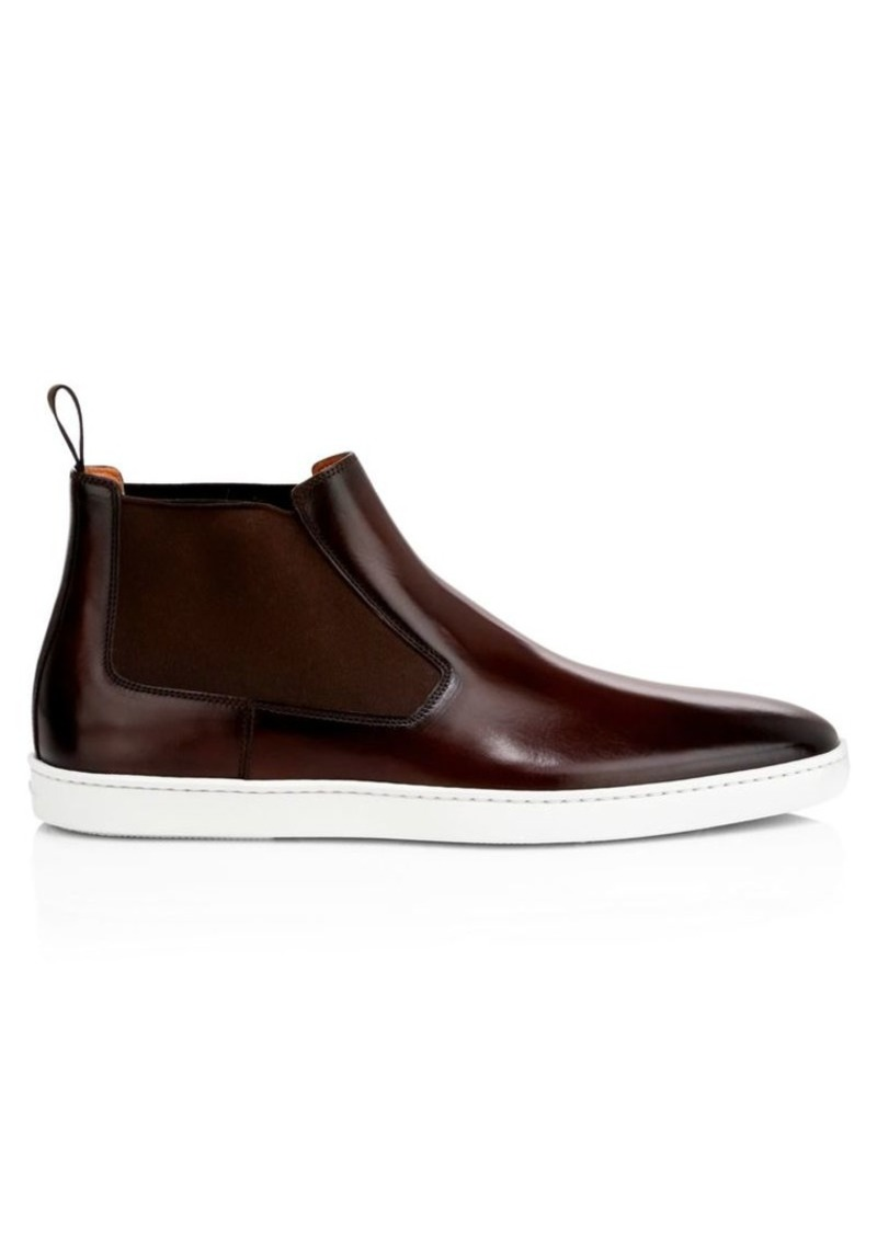 Santoni Garnett Mid-Top Leather Chelsea Boots