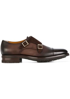 Santoni gold buckle monk shoes