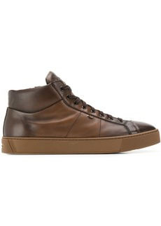Santoni hi-top leather trainers
