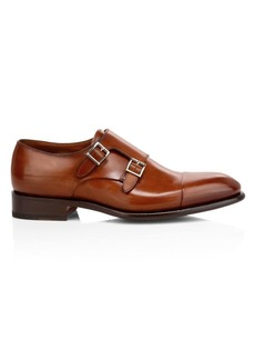 Santoni Ira Double Monk Strap Leather Dress Shoes