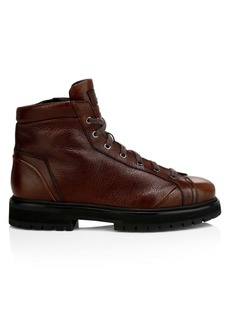 Santoni Lace-Up Leather Ankle Boots