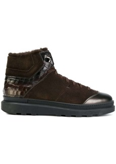 Santoni lamb fur trim high top sneakers