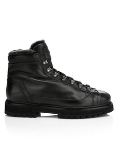 Santoni Mike Shearling-Lined Leather Combat Boots