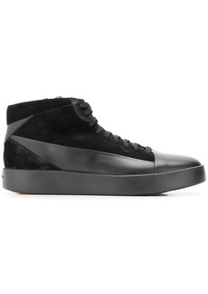 Santoni panelled hi-top sneakers