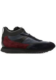 Santoni panelled mid-top sneakers