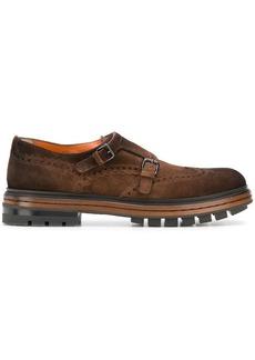 Santoni punch hole monk shoes