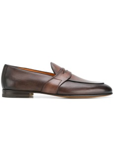 Santoni distressed penny loafers - Brown