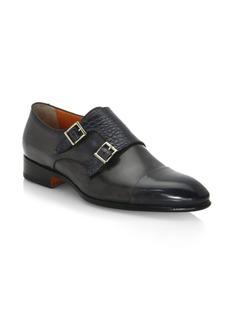 Santoni Double Monk-Strap Leather Oxfords