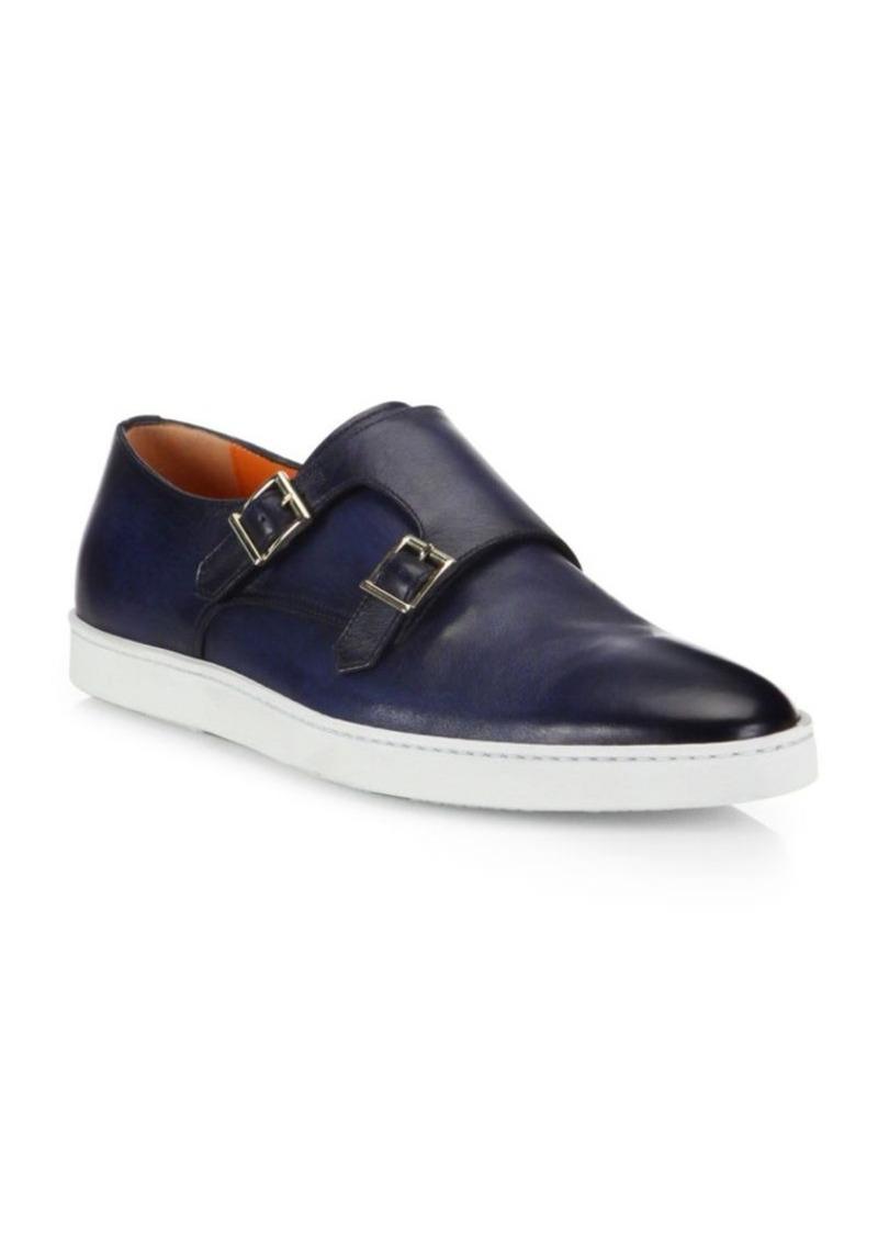 Santoni Fremont Double Monk Strap Leather Sneakers