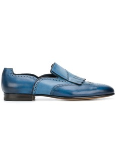 Santoni fringe and punch hold detailed loafers - Blue