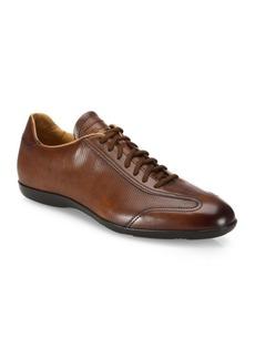 Santoni Textured Leather Oxfords