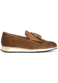 Santoni wedge sole loafers - Brown