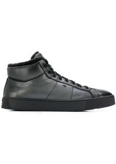 Santoni shearling hi-top sneakers