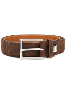 Santoni suede logo plaque belt