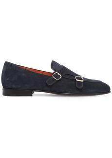 Santoni Suede Monk Strap Shoes
