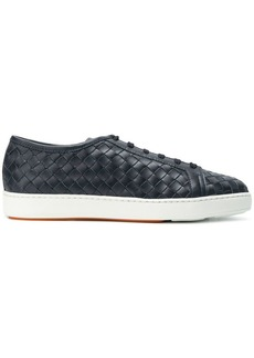 Santoni woven lace-up sneakers