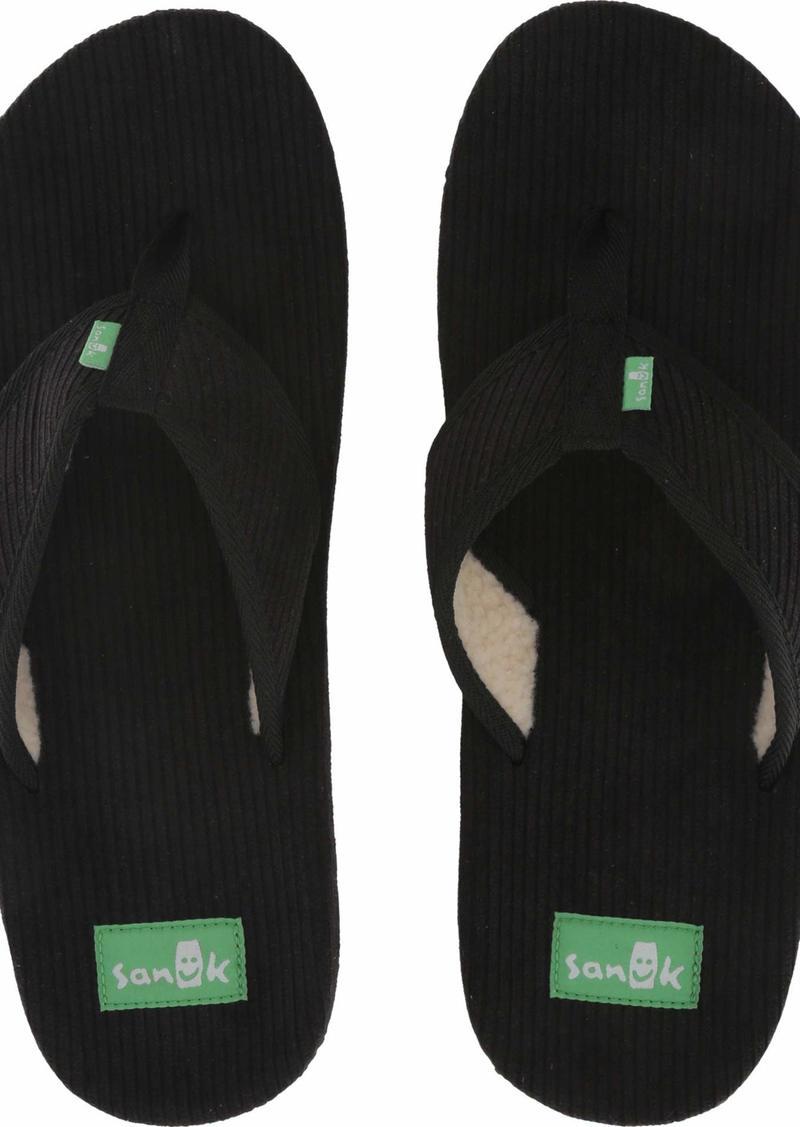 Sanuk Men's Furreal Classic Cord Flip-Flop black  M US