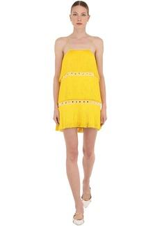 Sara Battaglia Embellished Mini Dress W/ Fringes