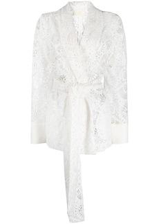 Sara Battaglia lace tied-blazer