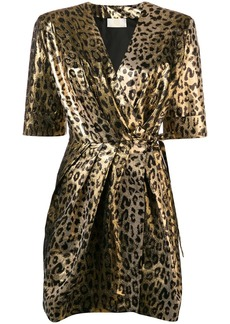 Sara Battaglia leopard wrap dress