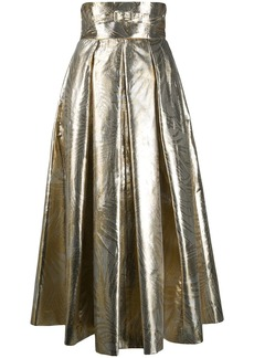 Sara Battaglia metallic leaf print high-waisted skirt