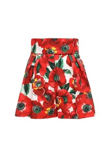 Sara Battaglia Printed Cady Shorts