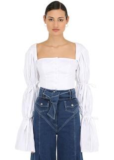 Sara Battaglia Ruffled Cotton Poplin Shirt