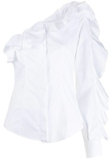 Sara Battaglia ruffled one shoulder shirt
