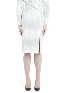Sara Battaglia Belted Pinstripe Wool Pencil Skirt