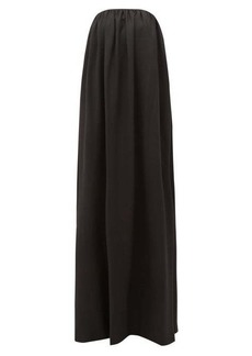 Sara Battaglia Bow-back wool-blend twill gown