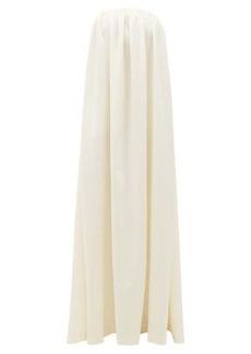 Sara Battaglia Bow-embellished strapless wool-blend gown