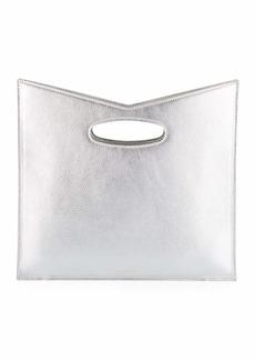 Sara Battaglia Bustina Metallic Leather V-Top Clutch Bag