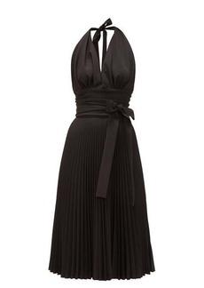 Sara Battaglia Halterneck pleated crepe dress