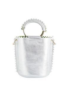 Sara Battaglia Helen Metallic Leather Bucket Bag